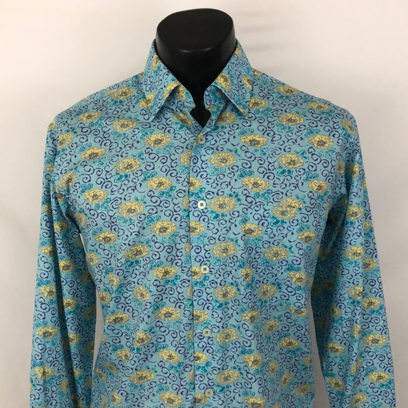 Alan Flusser Other - Alan Flusser mens Button Up Shirt Blue S Novelty